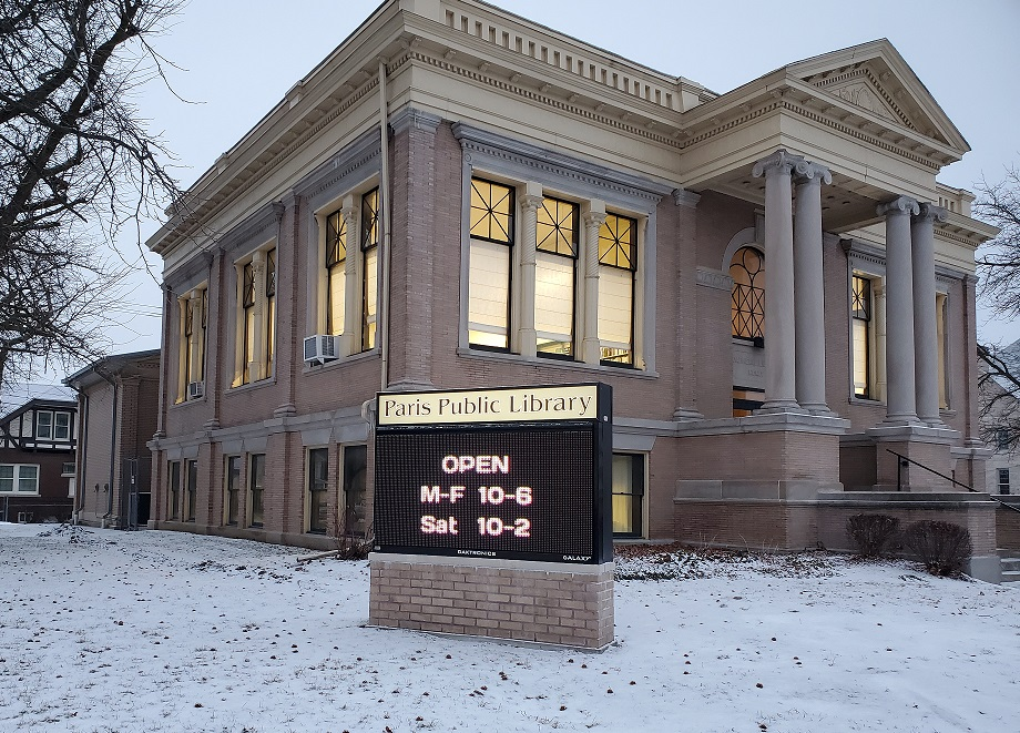 library with sign